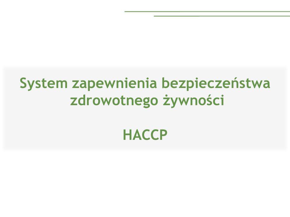 Podstawa prawna Ustawa z dnia 28.10.2006 o bezpieczeństwie żywności Obowiązek wdrażania HACCP Przedsiębiorstwa zajmujące się produkcją, przetwarzaniem i dystrybucją żywności