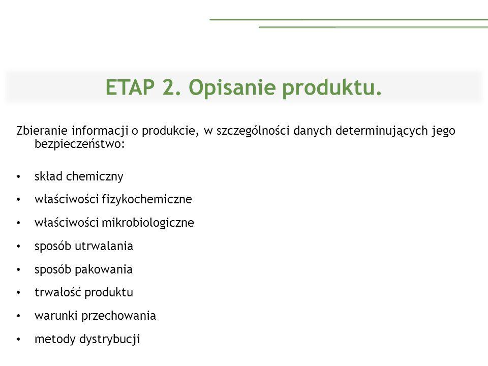 ETAP 2. Opisanie produktu. Zbieranie informacji o produkcie, w szczególności danych determinujących jego bezpieczeństwo: skład chemiczny właściwości f