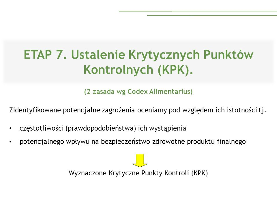 ETAP 7. Ustalenie Krytycznych Punktów Kontrolnych (KPK). (2 zasada wg Codex Alimentarius) Zidentyfikowane potencjalne zagrożenia oceniamy pod względem