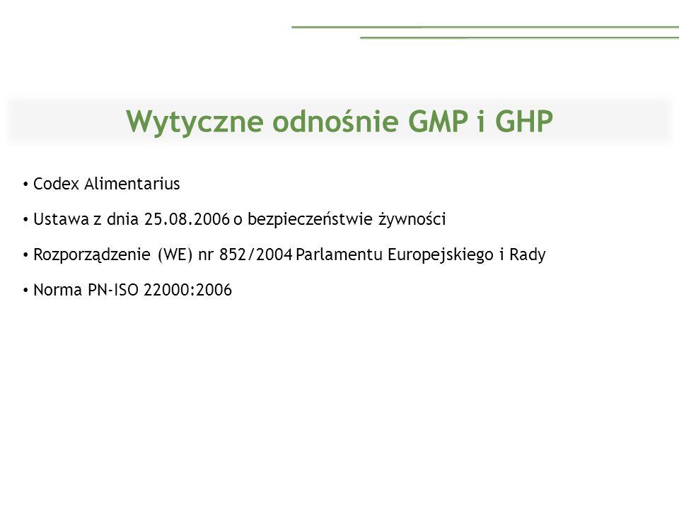 Wytyczne odnośnie GMP i GHP Codex Alimentarius Ustawa z dnia 25.08.2006 o bezpieczeństwie żywności Rozporządzenie (WE) nr 852/2004 Parlamentu Europejs
