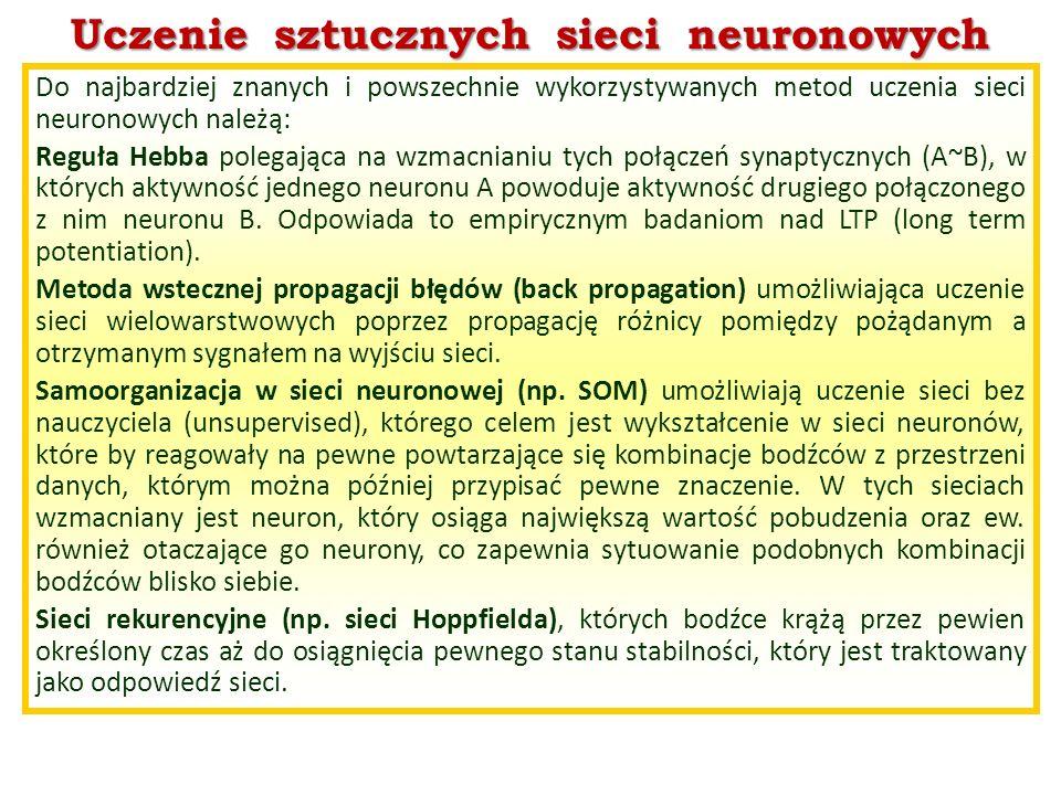 Uczenie sztucznych sieci neuronowych Do najbardziej znanych i powszechnie wykorzystywanych metod uczenia sieci neuronowych należą: Reguła Hebba polega
