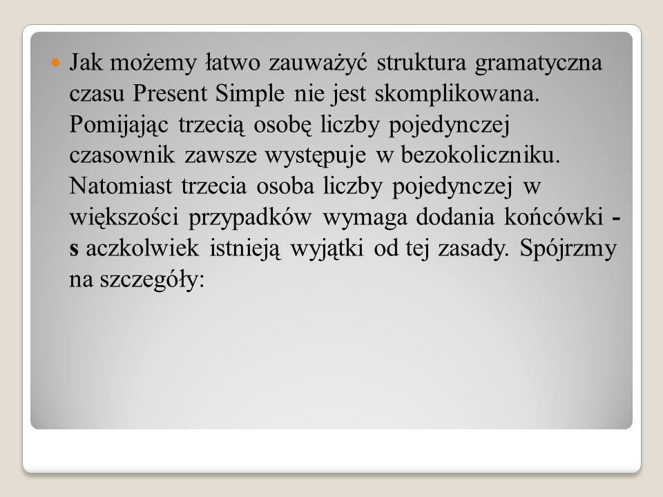 Jak możemy łatwo zauważyć struktura gramatyczna czasu Present Simple nie jest skomplikowana.