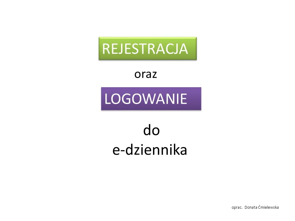 do e-dziennika REJESTRACJA LOGOWANIE oraz oprac. Donata Ćmielewska