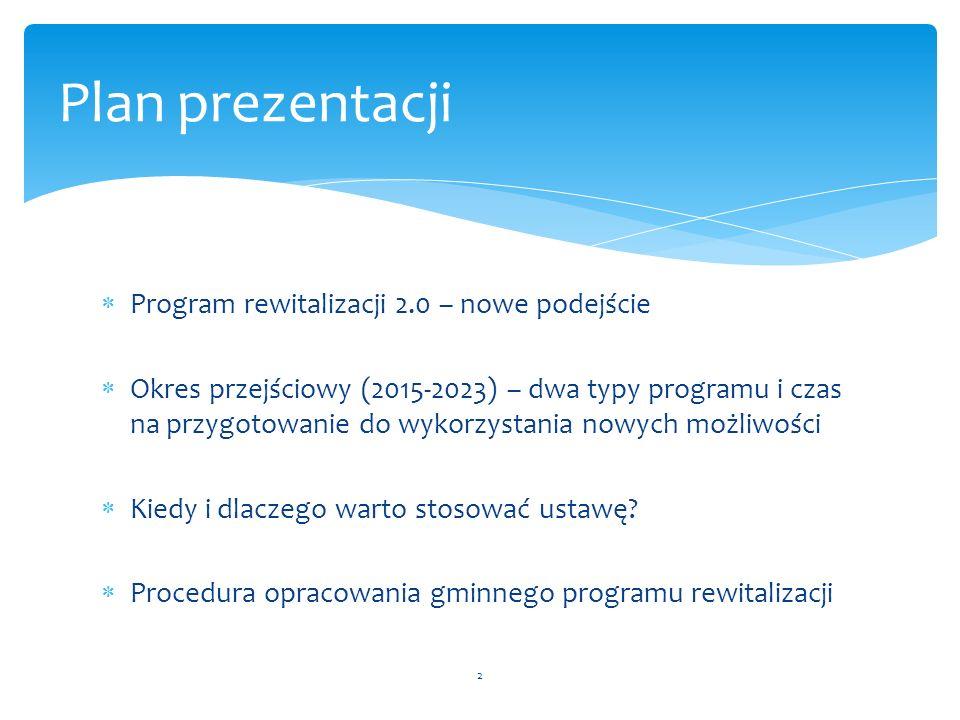  Program rewitalizacji 2.0 – nowe podejście  Okres przejściowy (2015-2023) – dwa typy programu i czas na przygotowanie do wykorzystania nowych możli