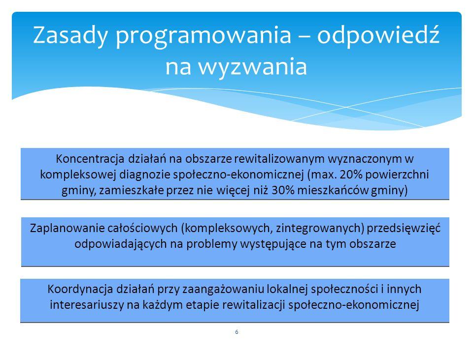 6 Zasady programowania – odpowiedź na wyzwania Koncentracja działań na obszarze rewitalizowanym wyznaczonym w kompleksowej diagnozie społeczno-ekonomi