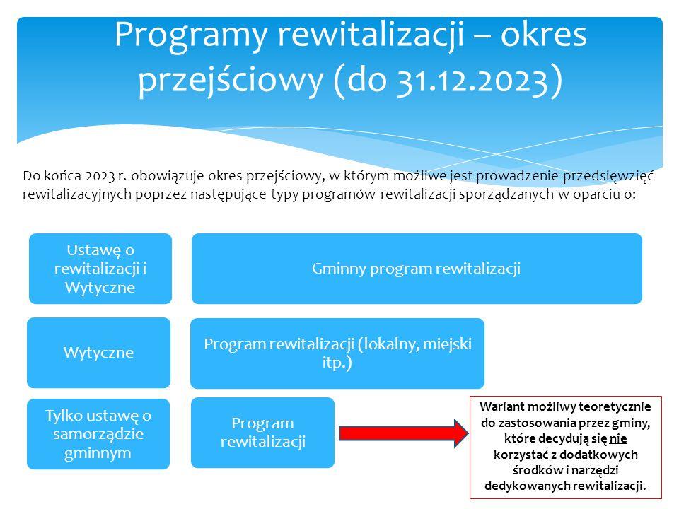 Programy rewitalizacji – okres przejściowy (do 31.12.2023) Ustawę o rewitalizacji i Wytyczne Gminny program rewitalizacjiWytyczne Program rewitalizacj