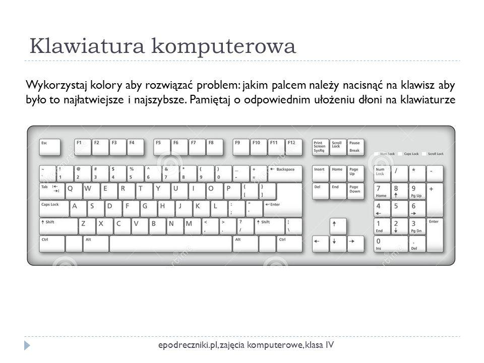 Klawiatura komputerowa epodreczniki.pl, zajęcia komputerowe, klasa IV Wykorzystaj kolory aby rozwiązać problem: jakim palcem należy nacisnąć na klawisz aby było to najłatwiejsze i najszybsze.