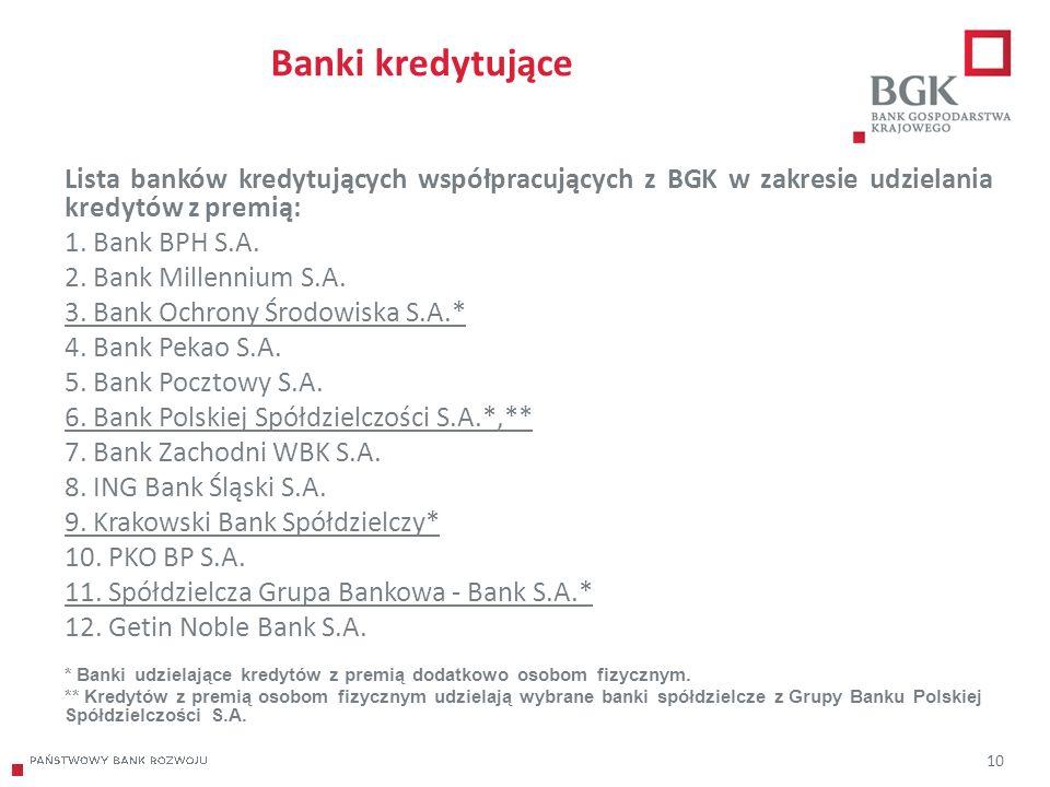 204/204/204 218/32/56 118/126/132 183/32/51 227/30/54 10 Banki kredytujące Lista banków kredytujących współpracujących z BGK w zakresie udzielania kredytów z premią: 1.