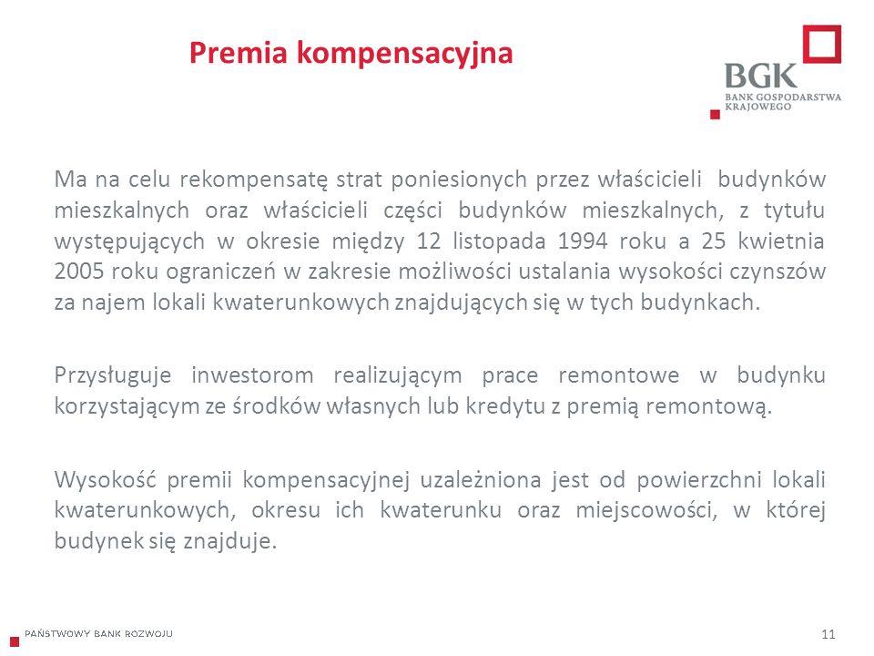 204/204/204 218/32/56 118/126/132 183/32/51 227/30/54 11 Premia kompensacyjna Ma na celu rekompensatę strat poniesionych przez właścicieli budynków mieszkalnych oraz właścicieli części budynków mieszkalnych, z tytułu występujących w okresie między 12 listopada 1994 roku a 25 kwietnia 2005 roku ograniczeń w zakresie możliwości ustalania wysokości czynszów za najem lokali kwaterunkowych znajdujących się w tych budynkach.