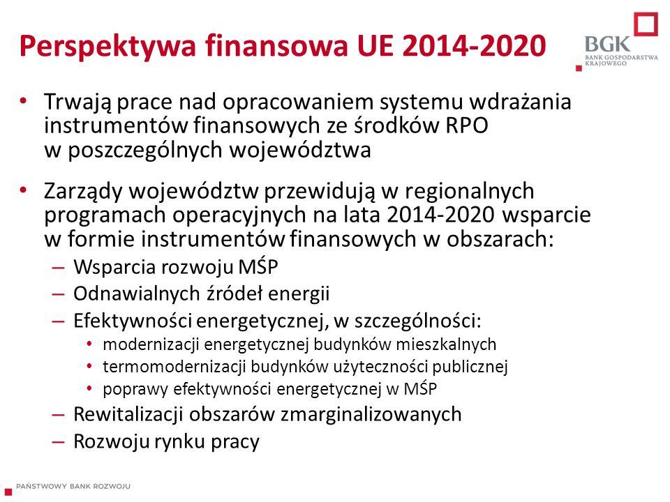 Perspektywa finansowa UE 2014-2020 Trwają prace nad opracowaniem systemu wdrażania instrumentów finansowych ze środków RPO w poszczególnych województw
