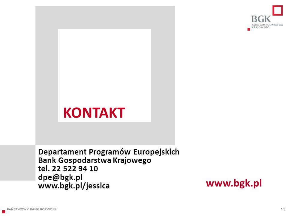 KONTAKT Departament Programów Europejskich Bank Gospodarstwa Krajowego tel. 22 522 94 10 dpe@bgk.pl www.bgk.pl/jessica 11 www.bgk.pl