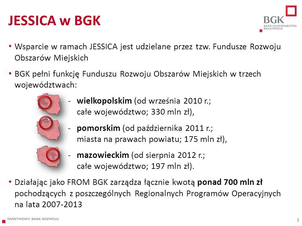 JESSICA w BGK Wsparcie w ramach JESSICA jest udzielane przez tzw. Fundusze Rozwoju Obszarów Miejskich BGK pełni funkcję Funduszu Rozwoju Obszarów Miej