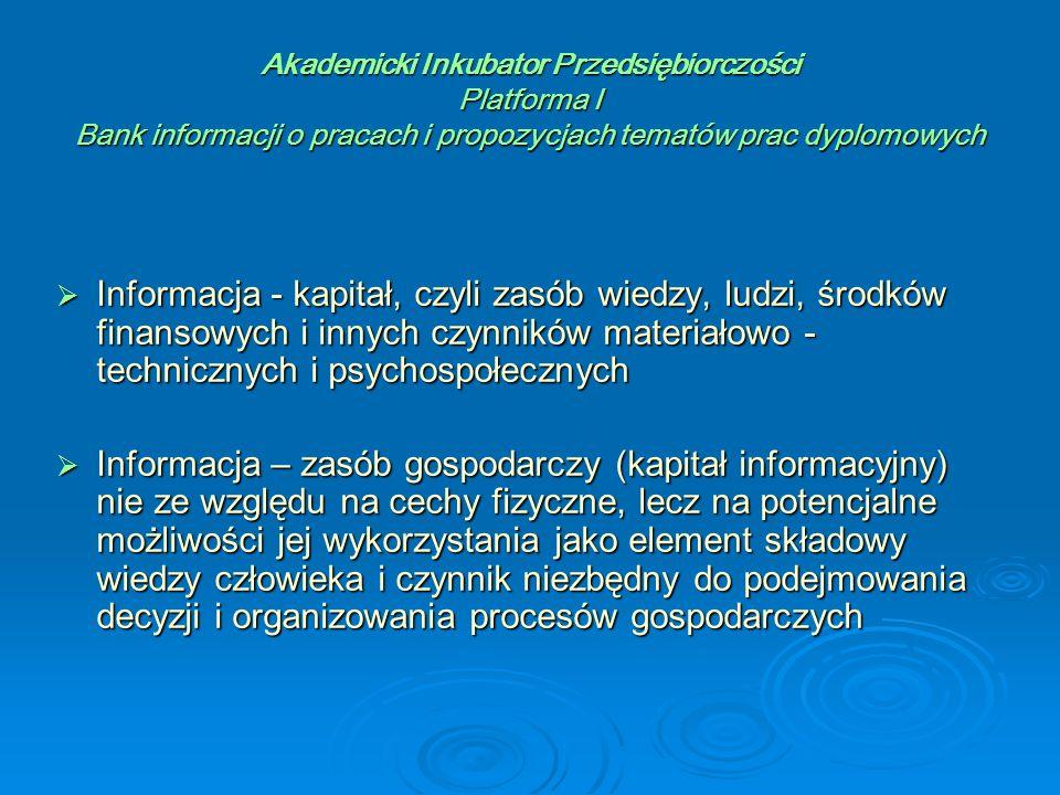 Akademicki Inkubator Przedsiębiorczości Platforma I Bank informacji o pracach i propozycjach tematów prac dyplomowych  Plansza wyszukiwania