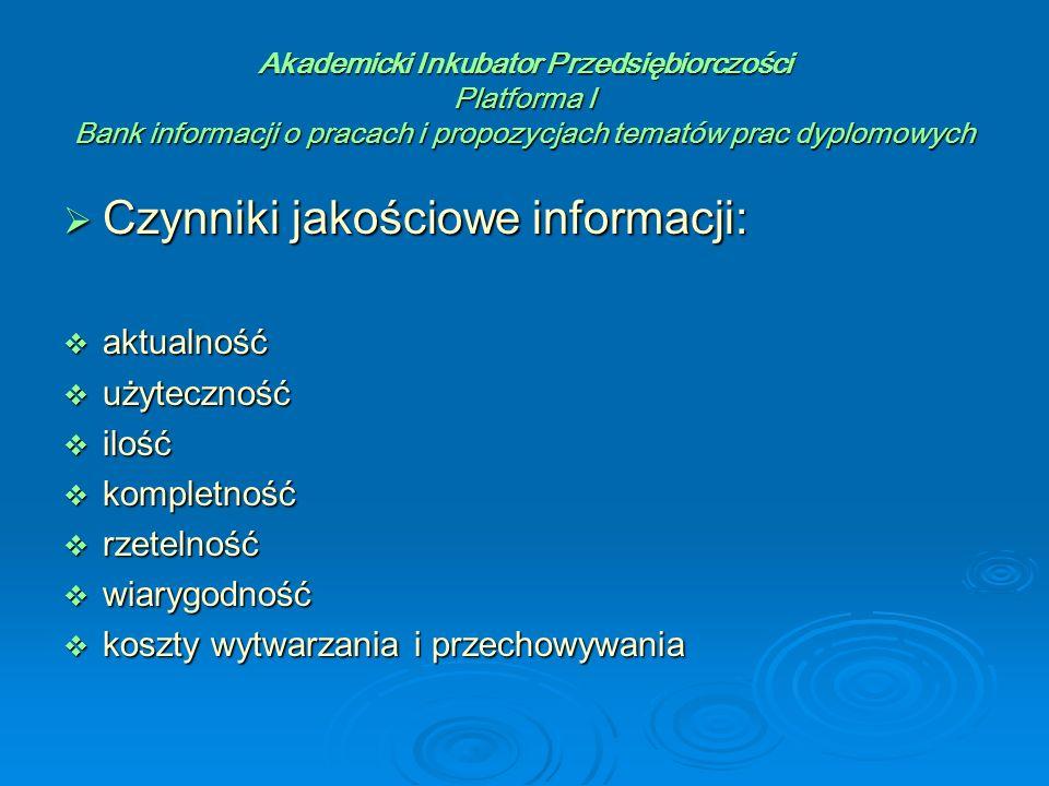 Akademicki Inkubator Przedsiębiorczości Platforma I Bank informacji o pracach i propozycjach tematów prac dyplomowych  Zadania systemów informacyjnych w odniesieniu do przedsiębiorczości:  informacja o polskich osiągnięciach i rozwiązaniach, która wspomoże ich szybkie zastosowanie i spowoduje zainteresowanie twórców, wynalazców oraz przedsiębiorców badaniami, a także informacją naukowo-techniczną  promocja i upowszechnianie wyników polskich badań naukowych za granicą, zwłaszcza w tych dziedzinach i dyscyplinach, w których osiągnęliśmy wysoką pozycję i które są naszą specjalnością narodową  przygotowanie krajowych zasobów informacyjnych do wymiany i umożliwienie pozyskiwania informacji z systemów zagranicznych  dostarczenie polskim przedsiębiorcom informacji na temat nowych technologii i know-how w innych krajach, informowanie o programach pomocowych Unii Europejskiej i rynkach europejskich oraz pomoc w wyszukiwaniu partnerów za granicą