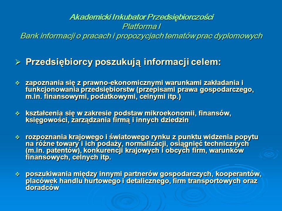 Akademicki Inkubator Przedsiębiorczości Platforma I Bank informacji o pracach i propozycjach tematów prac dyplomowych  Przedsiębiorcy poszukują informacji celem:  zapoznania się z prawno-ekonomicznymi warunkami zakładania i funkcjonowania przedsiębiorstw (przepisami prawa gospodarczego, m.in.