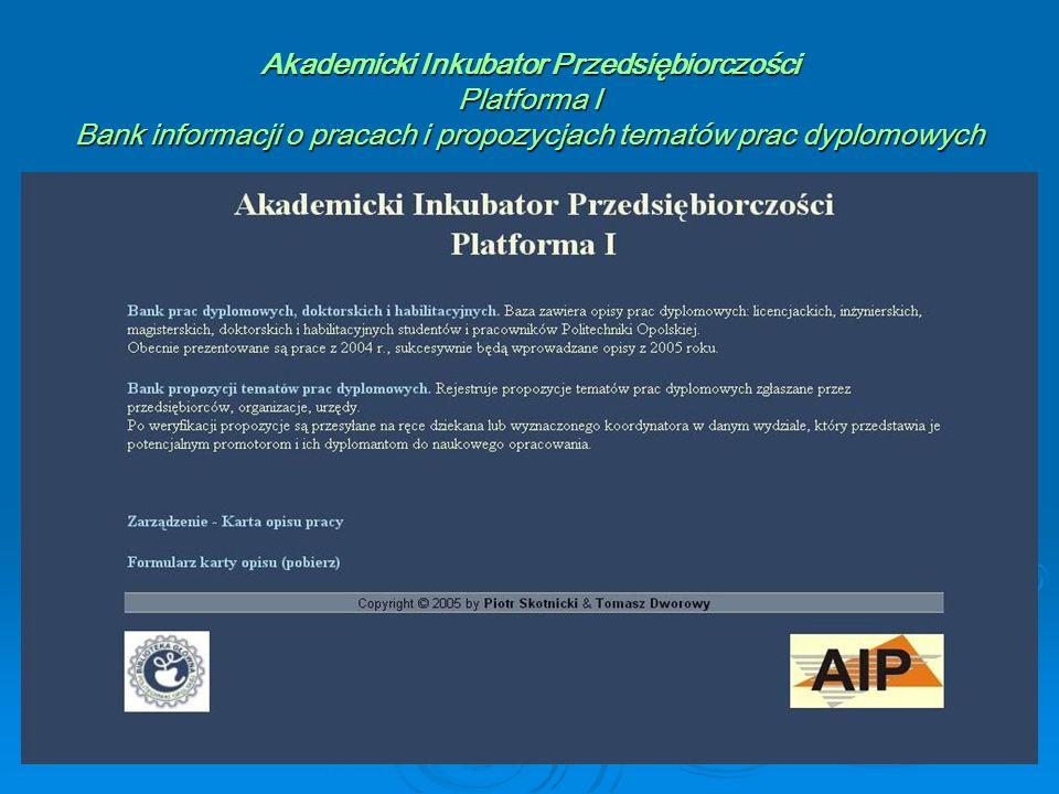 Akademicki Inkubator Przedsiębiorczości Platforma I Bank informacji o pracach i propozycjach tematów prac dyplomowych