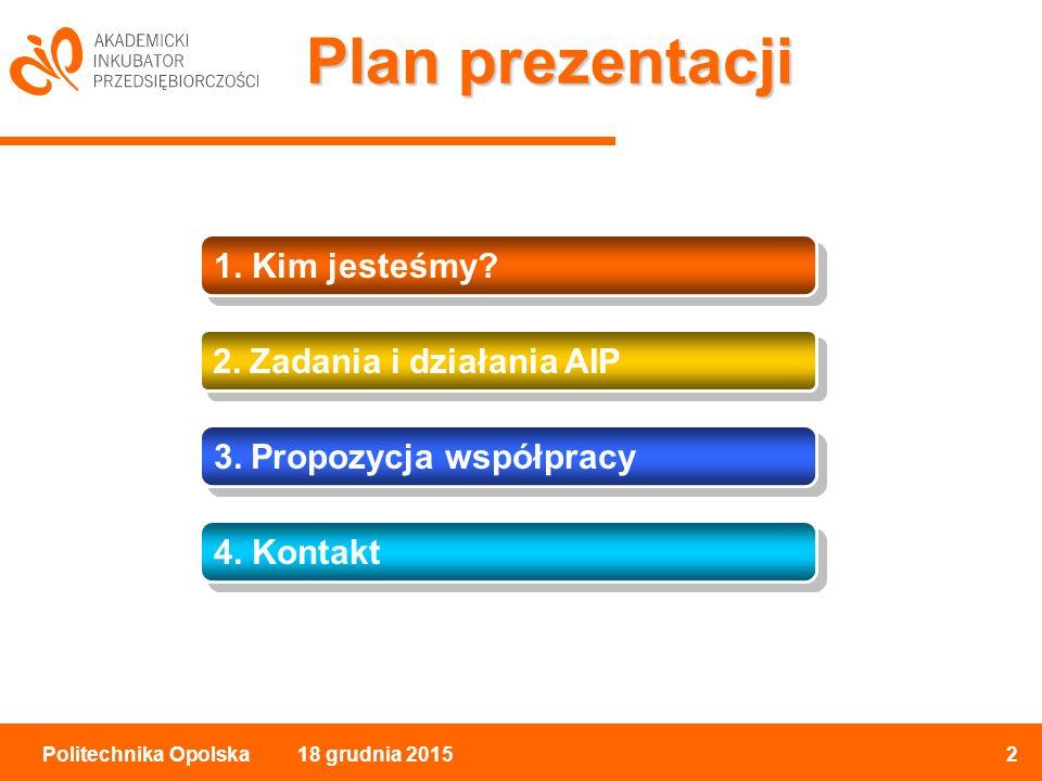 18 grudnia 20152Politechnika Opolska Plan prezentacji 1.