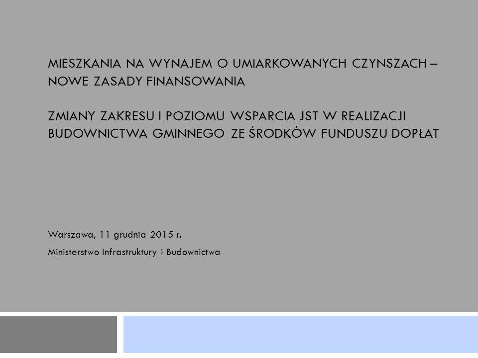 2 NOWA FORMUŁA WSPARCIA SPOŁECZNEGO BUDOWNICTWA CZYNSZOWEGO - podstawy prawne Ustawa z dnia 10 września 2015 r.