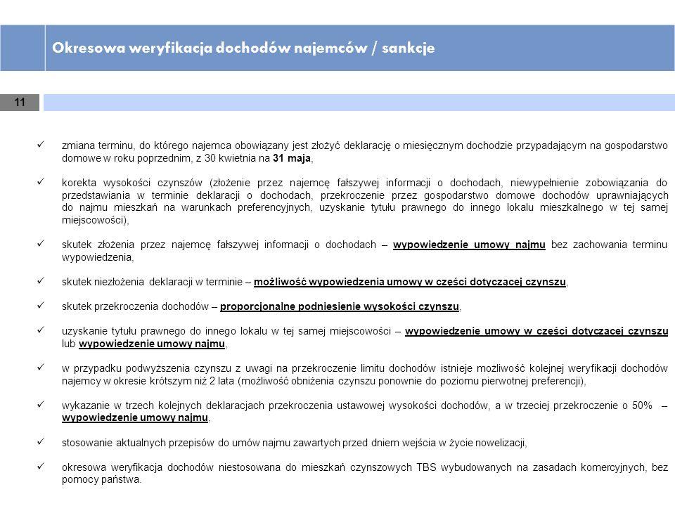 11 Okresowa weryfikacja dochodów najemców / sankcje zmiana terminu, do którego najemca obowiązany jest złożyć deklarację o miesięcznym dochodzie przyp