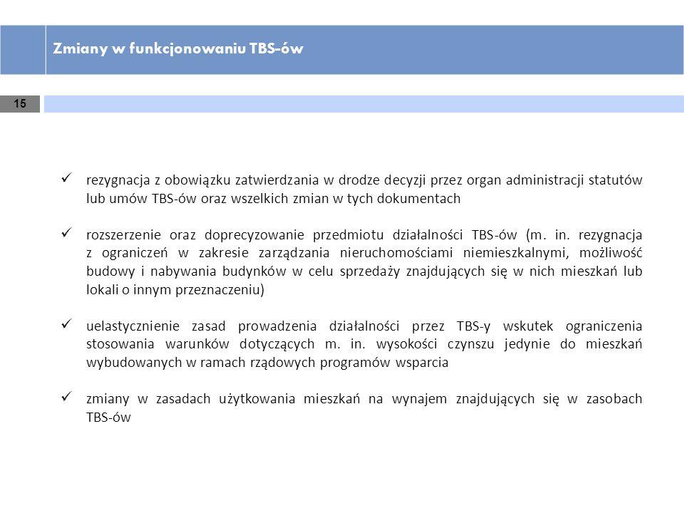 15 Zmiany w funkcjonowaniu TBS-ów rezygnacja z obowiązku zatwierdzania w drodze decyzji przez organ administracji statutów lub umów TBS-ów oraz wszelk