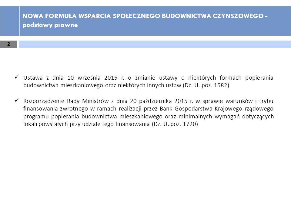 2 NOWA FORMUŁA WSPARCIA SPOŁECZNEGO BUDOWNICTWA CZYNSZOWEGO - podstawy prawne Ustawa z dnia 10 września 2015 r. o zmianie ustawy o niektórych formach