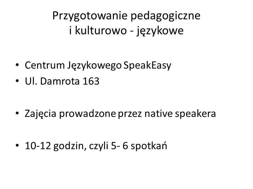 Przygotowanie pedagogiczne i kulturowo - językowe Centrum Językowego SpeakEasy Ul.
