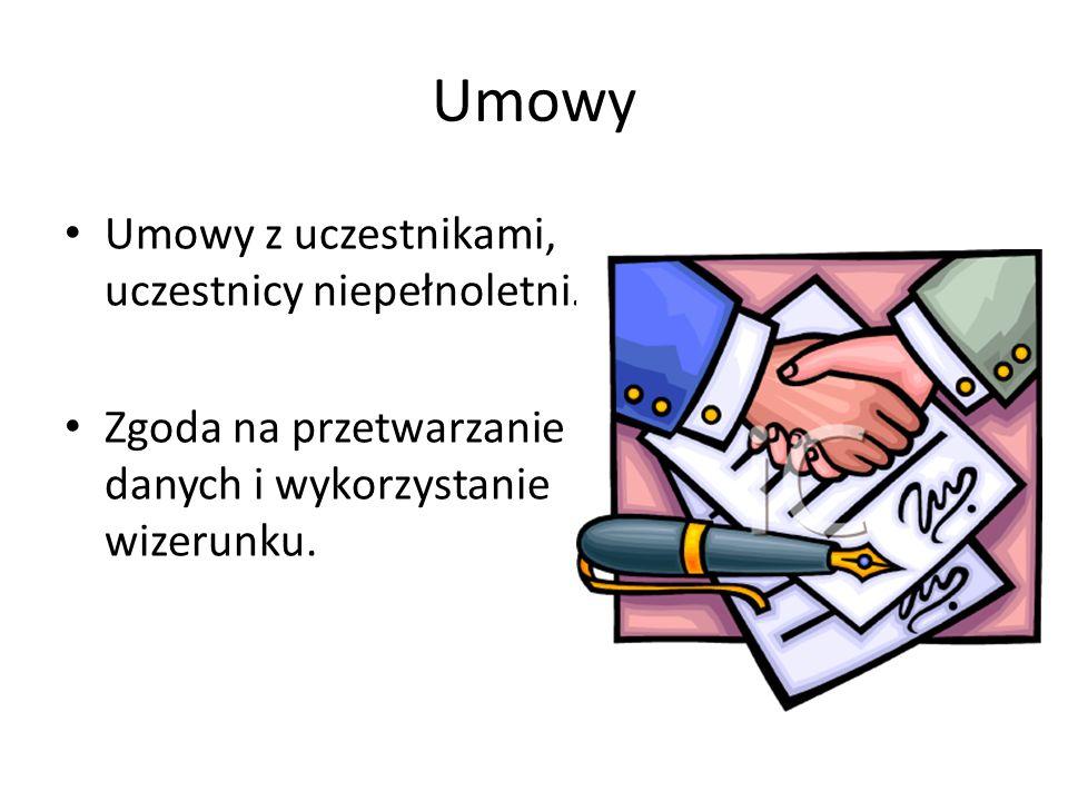 Umowy Umowy z uczestnikami, uczestnicy niepełnoletni.