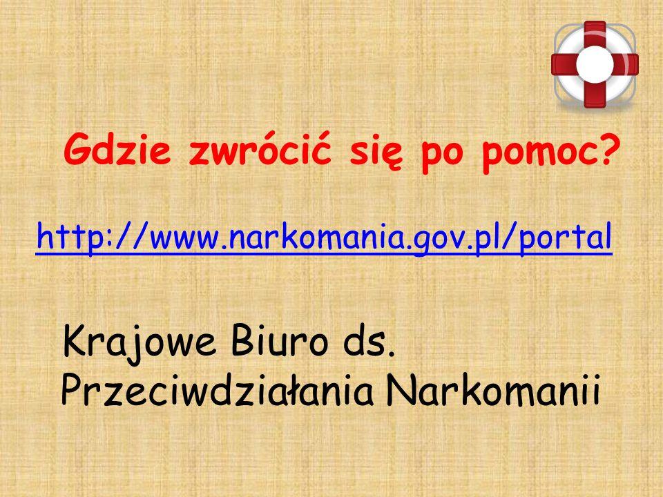 Gdzie zwrócić się po pomoc.http://www.narkomania.gov.pl/portal Krajowe Biuro ds.