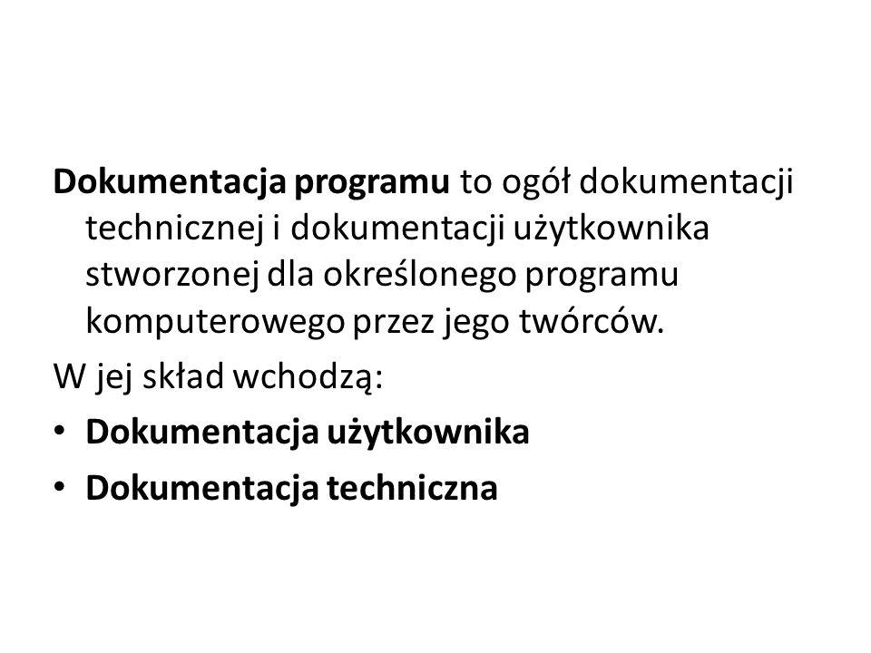 Dokumentacja programu to ogół dokumentacji technicznej i dokumentacji użytkownika stworzonej dla określonego programu komputerowego przez jego twórców