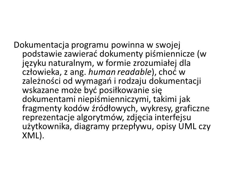 Dokumentacja programu powinna w swojej podstawie zawierać dokumenty piśmiennicze (w języku naturalnym, w formie zrozumiałej dla człowieka, z ang. huma