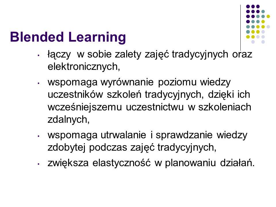 Blended Learning łączy w sobie zalety zajęć tradycyjnych oraz elektronicznych, wspomaga wyrównanie poziomu wiedzy uczestników szkoleń tradycyjnych, dzięki ich wcześniejszemu uczestnictwu w szkoleniach zdalnych, wspomaga utrwalanie i sprawdzanie wiedzy zdobytej podczas zajęć tradycyjnych, zwiększa elastyczność w planowaniu działań.
