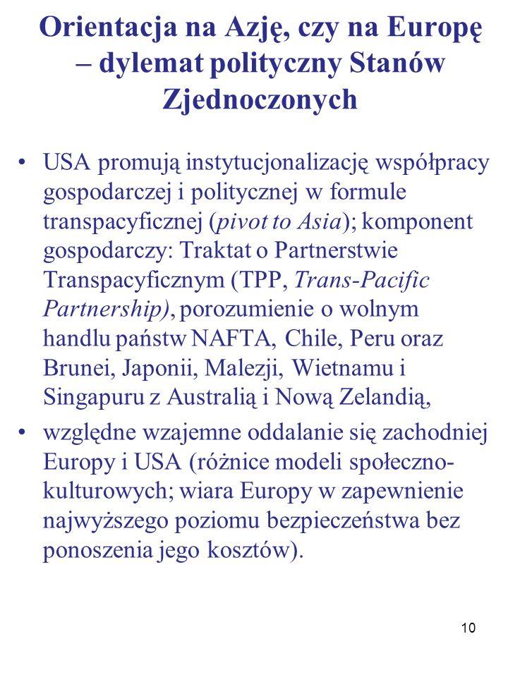 Orientacja na Azję, czy na Europę – dylemat polityczny Stanów Zjednoczonych USA promują instytucjonalizację współpracy gospodarczej i politycznej w formule transpacyficznej (pivot to Asia); komponent gospodarczy: Traktat o Partnerstwie Transpacyficznym (TPP, Trans-Pacific Partnership), porozumienie o wolnym handlu państw NAFTA, Chile, Peru oraz Brunei, Japonii, Malezji, Wietnamu i Singapuru z Australią i Nową Zelandią, względne wzajemne oddalanie się zachodniej Europy i USA (różnice modeli społeczno- kulturowych; wiara Europy w zapewnienie najwyższego poziomu bezpieczeństwa bez ponoszenia jego kosztów).