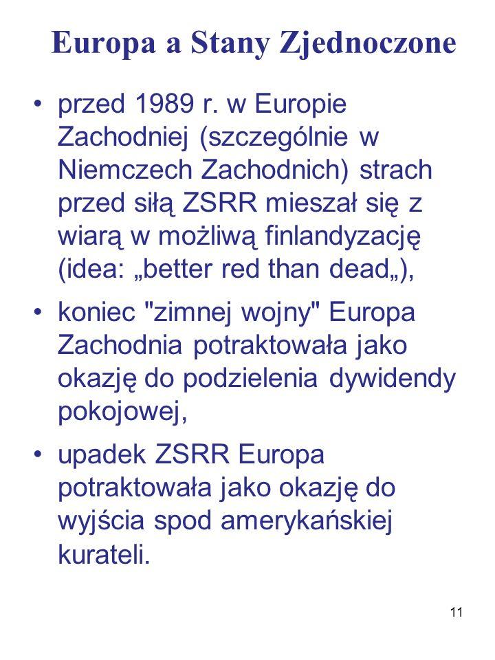 Europa a Stany Zjednoczone przed 1989 r.