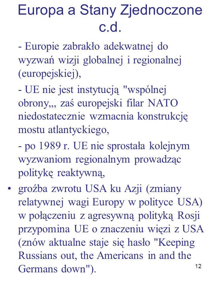 Europa a Stany Zjednoczone c.d.