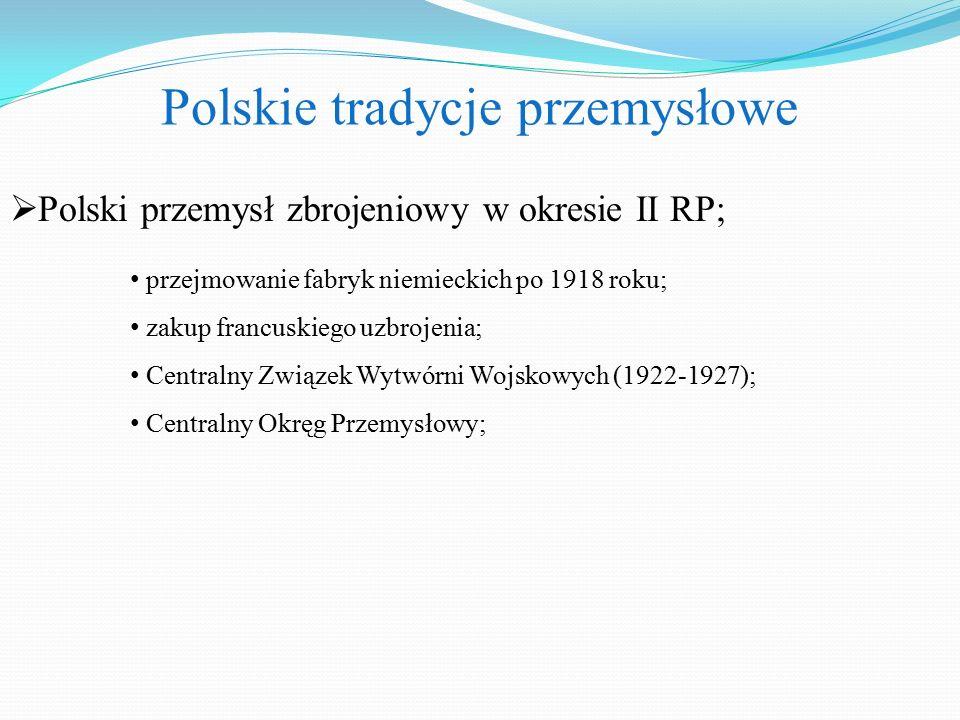  Polski przemysł zbrojeniowy w okresie II RP; Polskie tradycje przemysłowe przejmowanie fabryk niemieckich po 1918 roku; zakup francuskiego uzbrojenia; Centralny Związek Wytwórni Wojskowych (1922-1927); Centralny Okręg Przemysłowy;