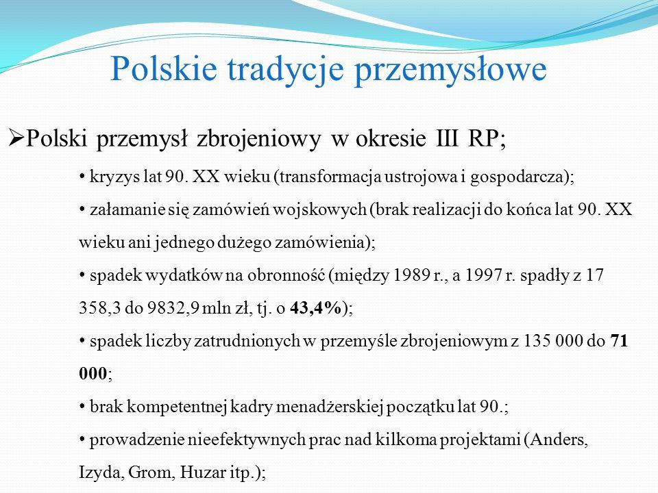 Polskie tradycje przemysłowe  Polski przemysł zbrojeniowy w okresie III RP; kryzys lat 90.