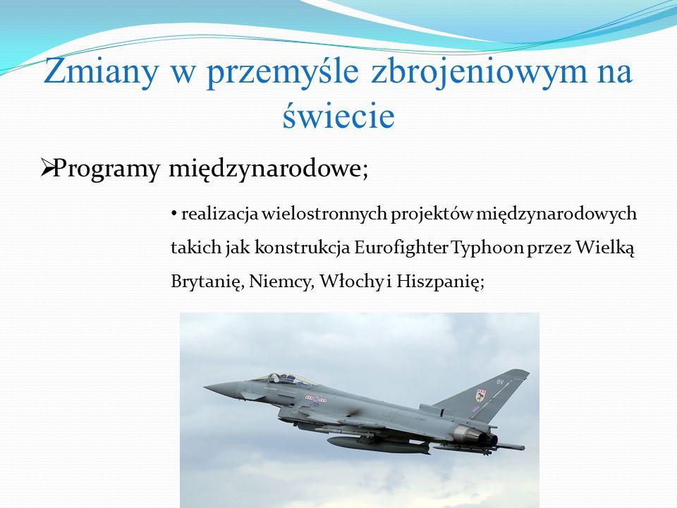  Programy międzynarodowe; Zmiany w przemyśle zbrojeniowym na świecie realizacja wielostronnych projektów międzynarodowych takich jak konstrukcja Eurofighter Typhoon przez Wielką Brytanię, Niemcy, Włochy i Hiszpanię;