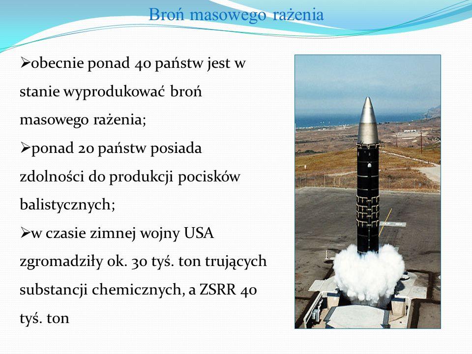  obecnie ponad 40 państw jest w stanie wyprodukować broń masowego rażenia;  ponad 20 państw posiada zdolności do produkcji pocisków balistycznych;  w czasie zimnej wojny USA zgromadziły ok.