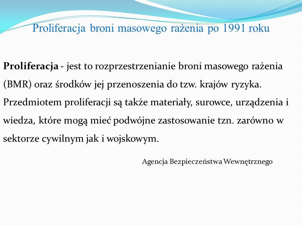 Proliferacja - jest to rozprzestrzenianie broni masowego rażenia (BMR) oraz środków jej przenoszenia do tzw.