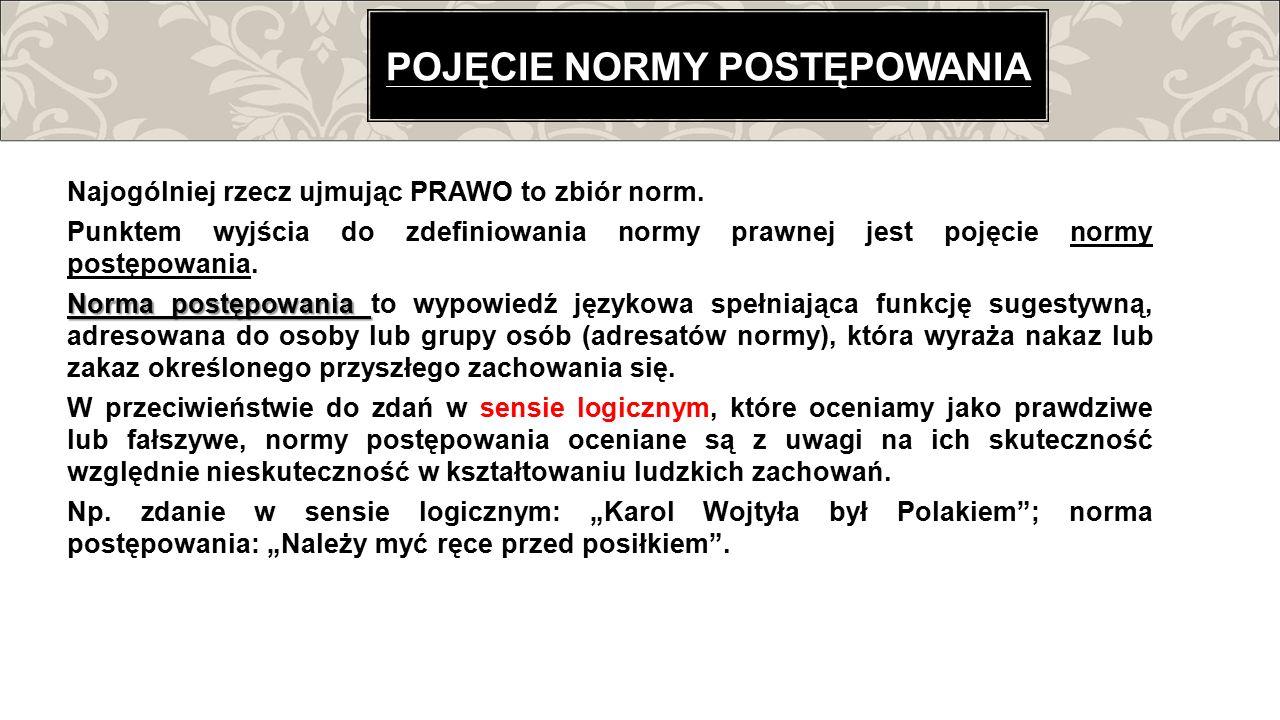 Najogólniej rzecz ujmując PRAWO to zbiór norm. Punktem wyjścia do zdefiniowania normy prawnej jest pojęcie normy postępowania. Norma postępowania Norm