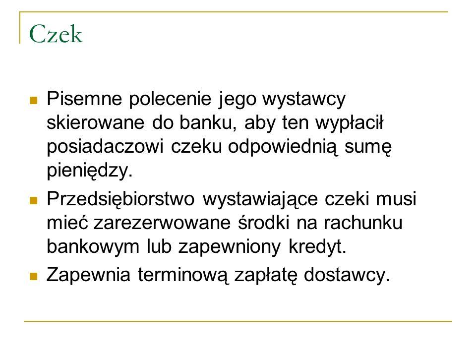 Czeki Odbiorca Dostawca Bank odbiorcyBank dostawcy Przelew środków Zawiadomienie o realizacji czeku Przekazanie czeku do realizacji Czek do realizacji Wręczenie czeku