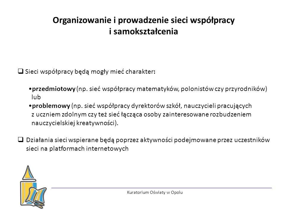 Kuratorium Oświaty w Opolu Organizowanie i prowadzenie sieci współpracy i samokształcenia  Sieci współpracy będą mogły mieć charakter: przedmiotowy (np.