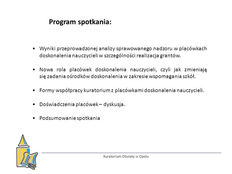 Kuratorium Oświaty w Opolu Wyniki przeprowadzonej analizy sprawowanego nadzoru w placówkach doskonalenia nauczycieli w szczególności realizacja grantów.