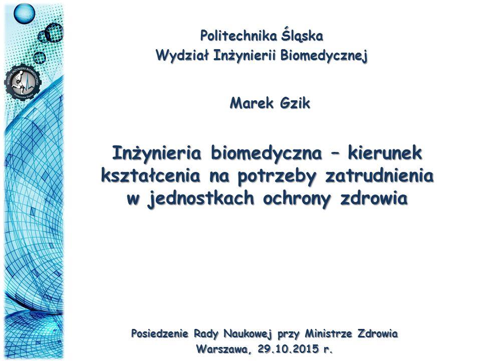 Politechnika Śląska Wydział Inżynierii Biomedycznej Inżynieria biomedyczna – kierunek kształcenia na potrzeby zatrudnienia w jednostkach ochrony zdrow