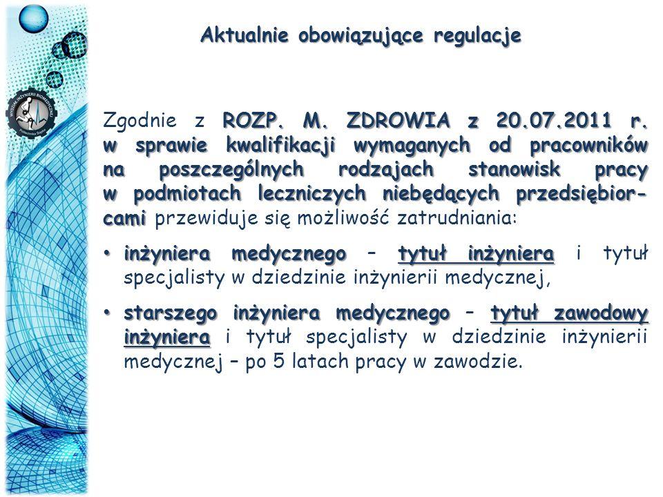 Aktualnie obowiązujące regulacje ROZP. M. ZDROWIA z 20.07.2011 r. w sprawie kwalifikacji wymaganych od pracowników na poszczególnych rodzajach stanowi