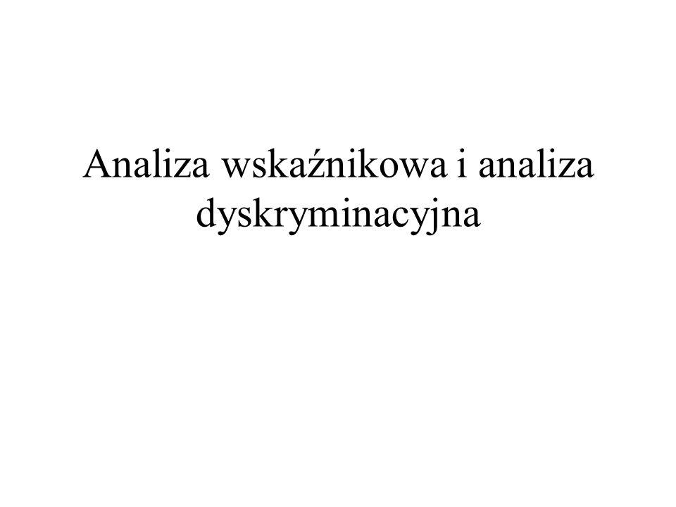 Typowa funkcja dyskryminacyjna Z = aX + bW + itd..