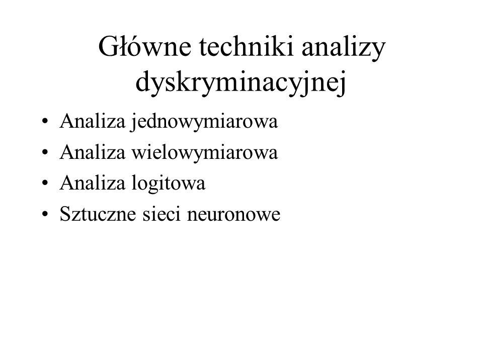 Główne techniki analizy dyskryminacyjnej Analiza jednowymiarowa Analiza wielowymiarowa Analiza logitowa Sztuczne sieci neuronowe