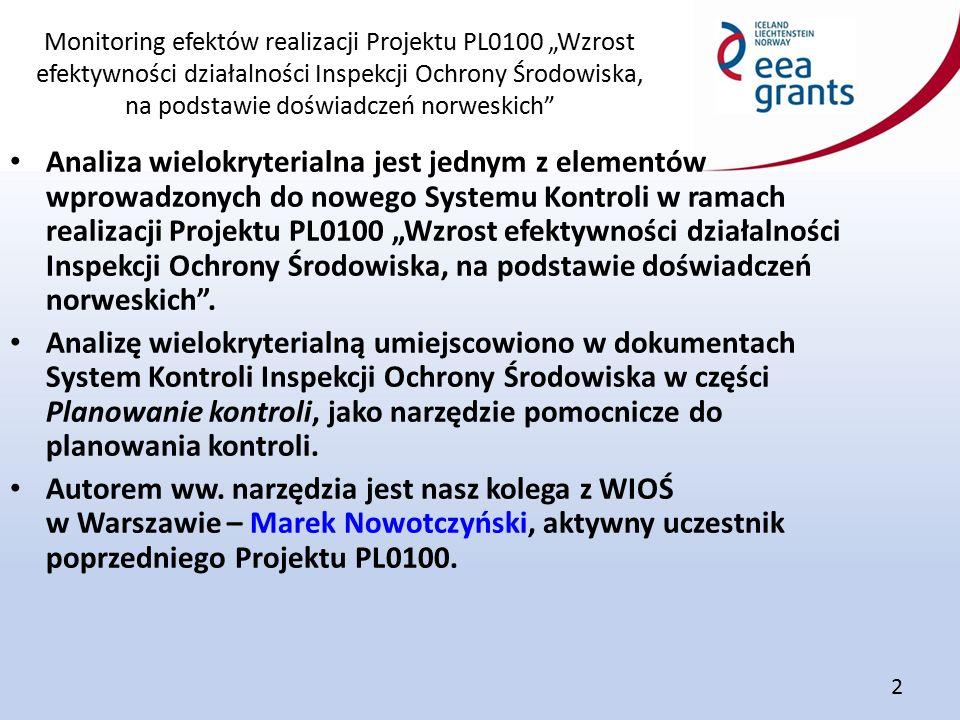 """Monitoring efektów realizacji Projektu PL0100 """"Wzrost efektywności działalności Inspekcji Ochrony Środowiska, na podstawie doświadczeń norweskich"""" 2 A"""