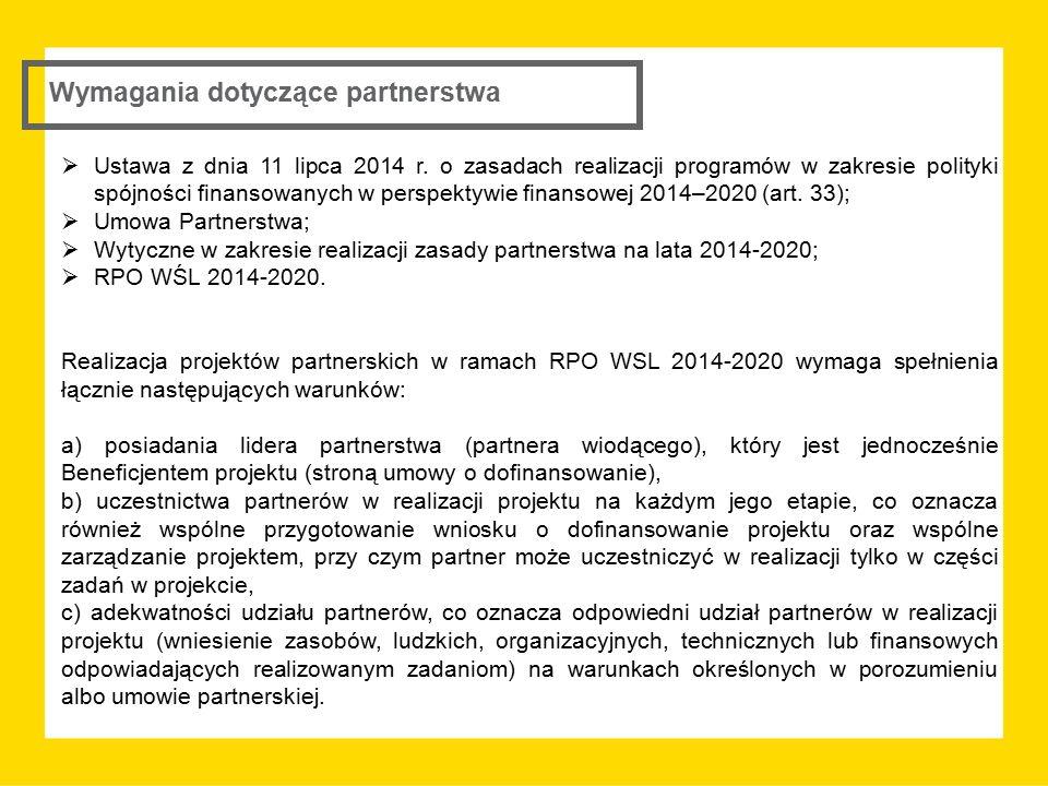 Wymagania dotyczące partnerstwa  Ustawa z dnia 11 lipca 2014 r. o zasadach realizacji programów w zakresie polityki spójności finansowanych w perspek