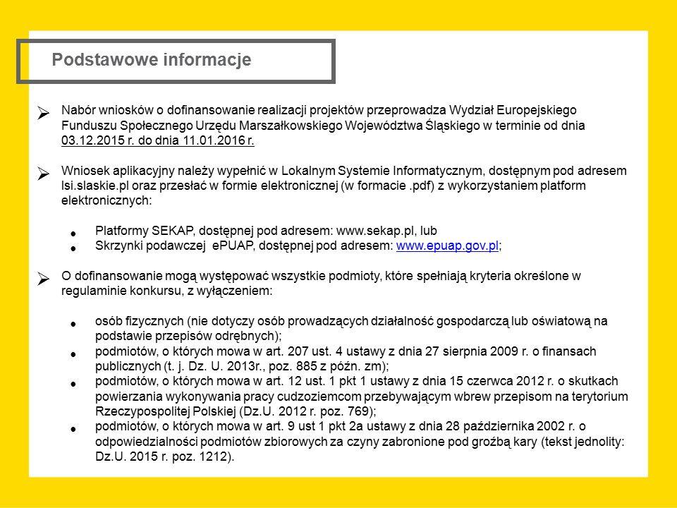 Podstawowe informacje  Nabór wniosków o dofinansowanie realizacji projektów przeprowadza Wydział Europejskiego Funduszu Społecznego Urzędu Marszałkow